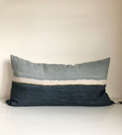 Surf Colorblock Lumbar Pillow Cover with Metallic Gold