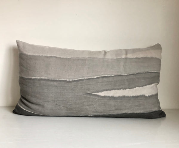 Charcoal Furrow Lumbar Pillow Cover