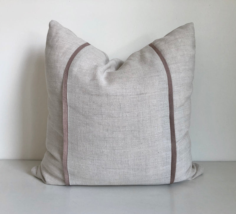 Plain Hemp Pillow with Rose Flange Panels
