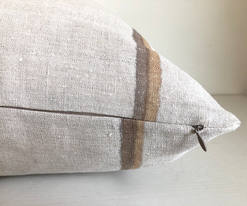 Amber & Chestnut Thin Striped Hemp Pillow