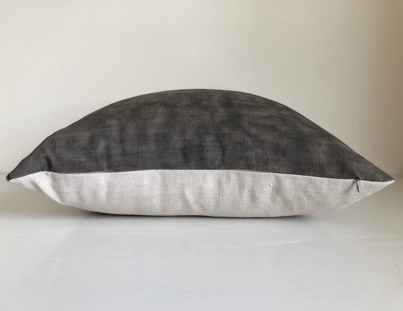 Amber & Charcoal Colorblock Pillow with Metallic Gold