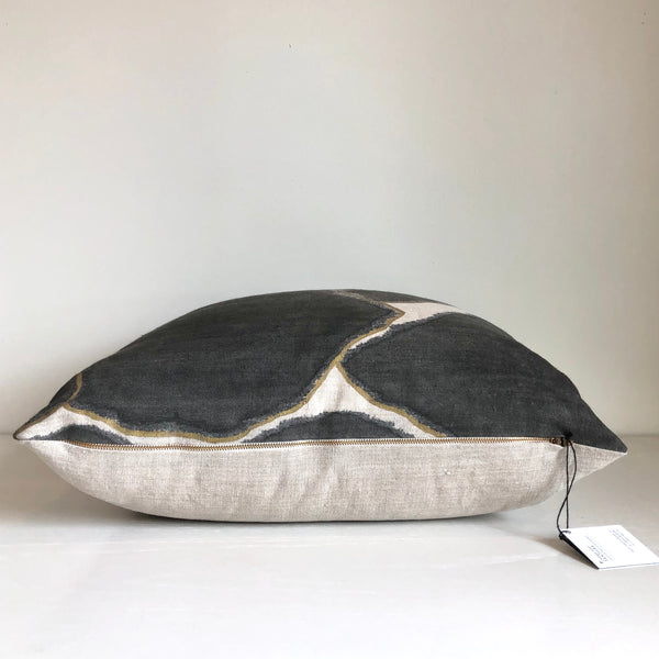 Charcoal Fragment Pillow with Metallic Gold