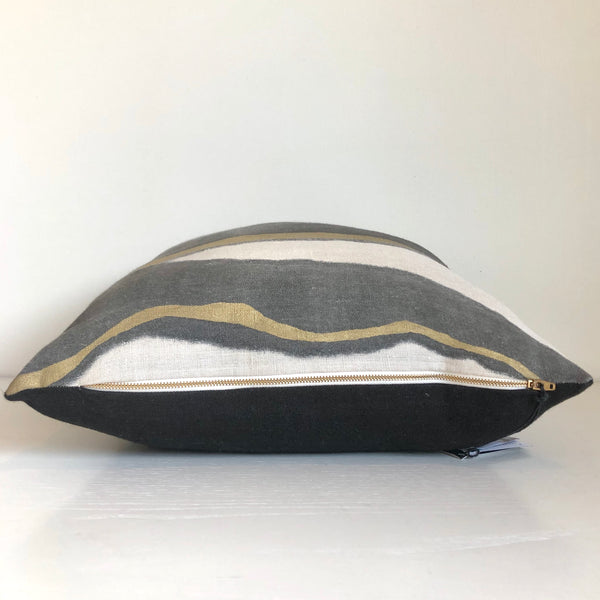Charcoal Furrow Pillow with Metallic Gold