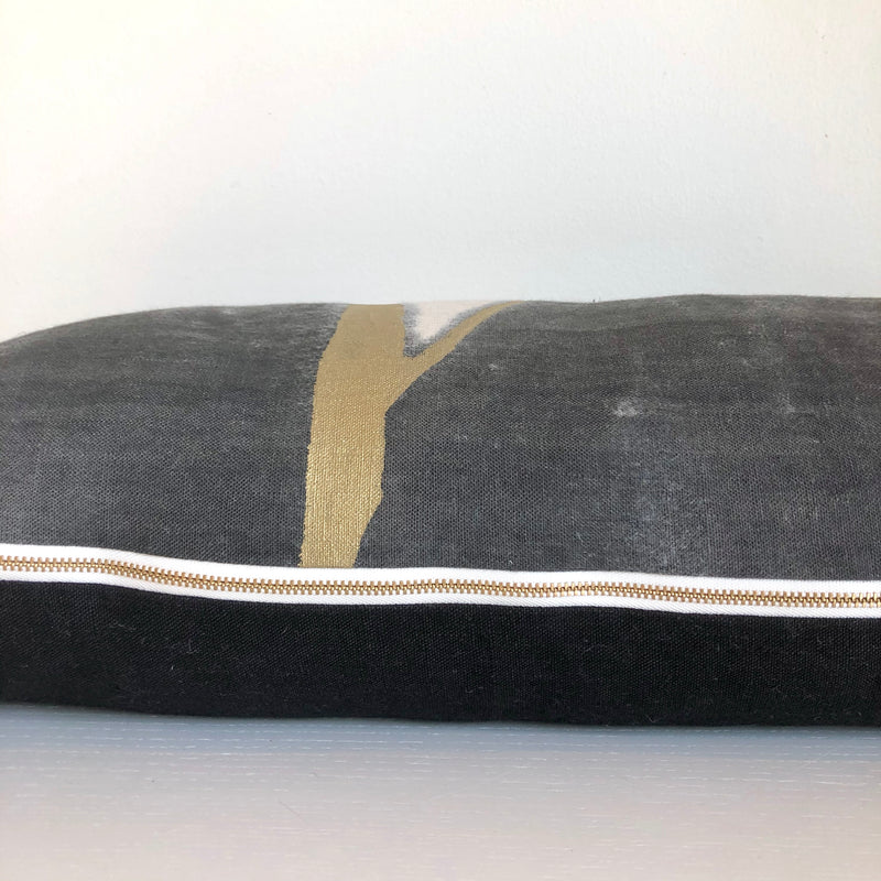 Charcoal Furrow Lumbar Pillow with Metallic Gold