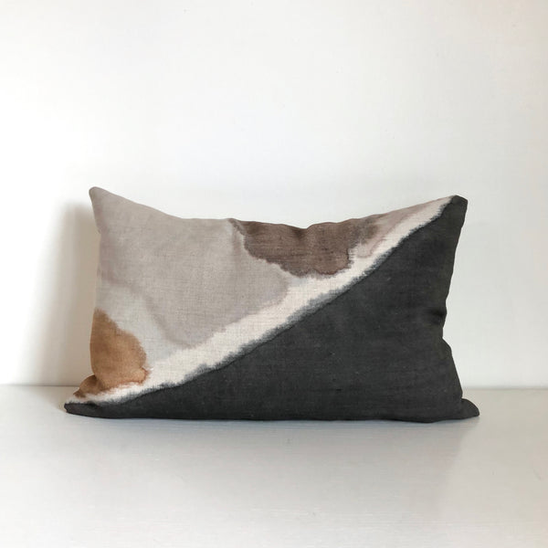 Charcoal & Mocha Fragment Lumbar Pillow