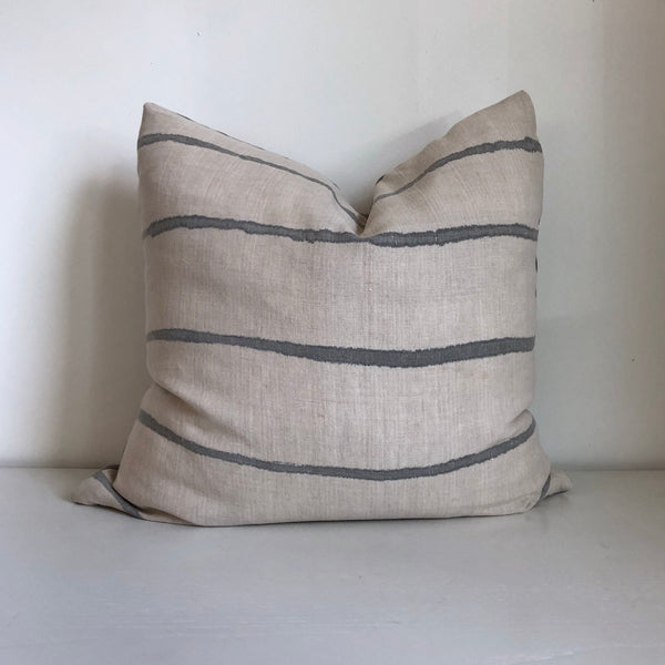 Cloud Grey Thin Striped Pillow Cover