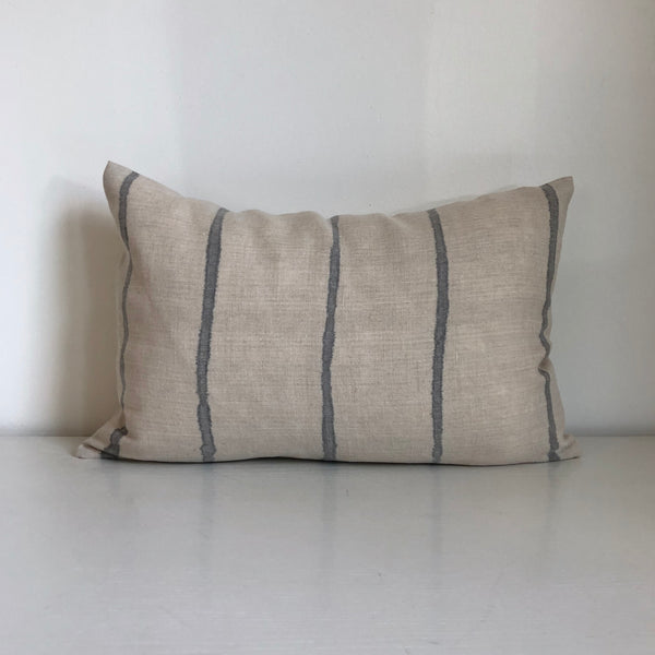 Cloud Grey Thin Striped Lumbar Pillow Cover