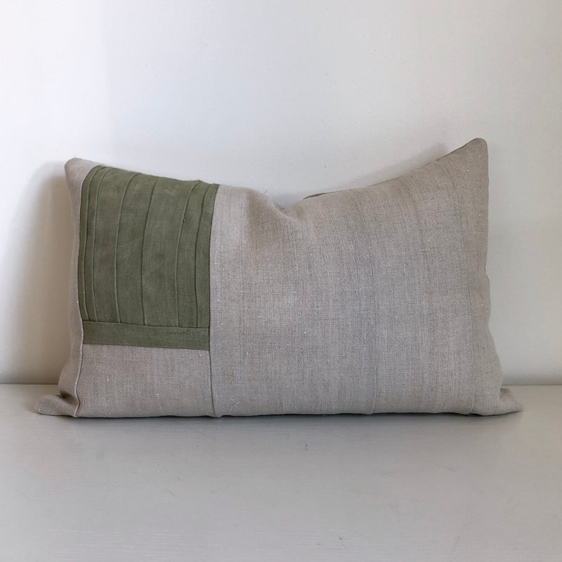 Olive Remnants Hemp Lumbar Pillow no. 1