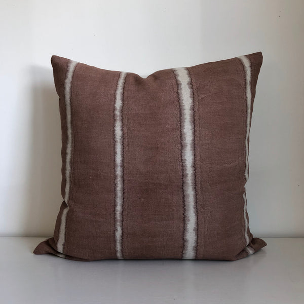 Madder Rose Wide Stripe Pillow Cover