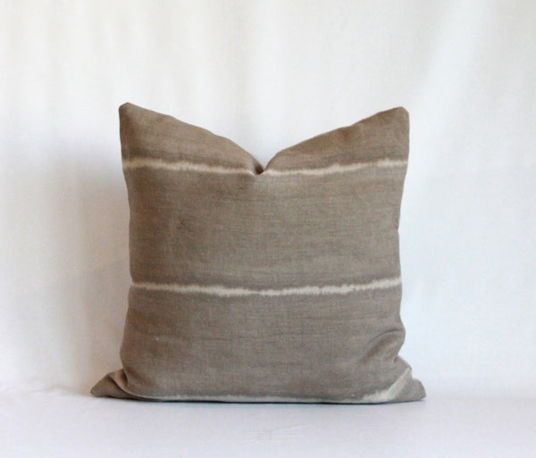 Mocha Wide Striped Hemp Pillow