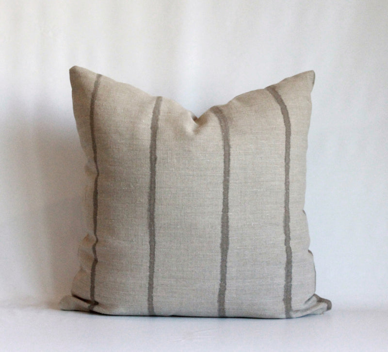 Mocha Thin Striped Hemp Pillow