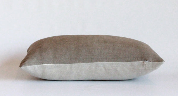 Mocha Solid Wash Hemp Lumbar Pillow