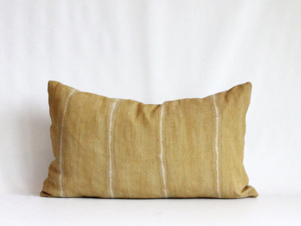 Ochre Wide Striped Hemp Pillow