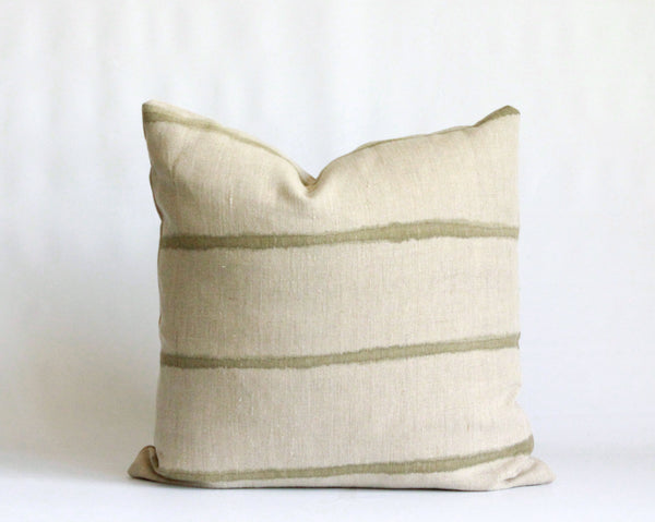 Olive Thin Striped Pillow Cover