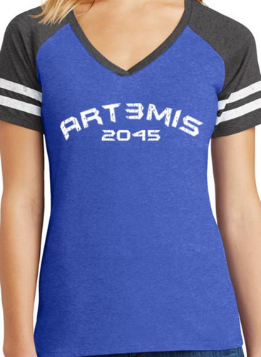Art3mis 2045 - Blue - V-Neck Tee