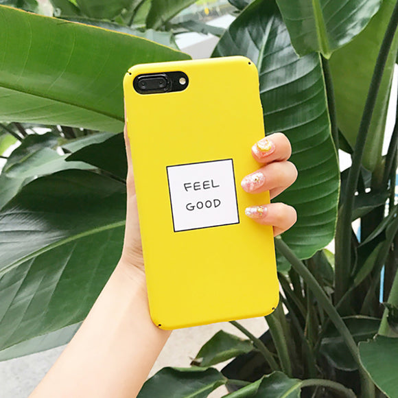 Lovely Yellow Color FEEL GOOD Letter Phone Case For Iphones