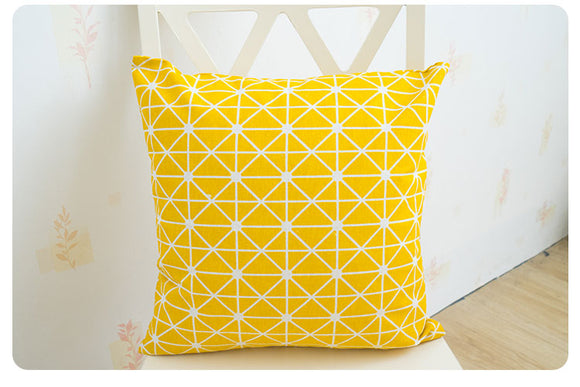Yellow Geometric Cotton Linen Pillow Cover