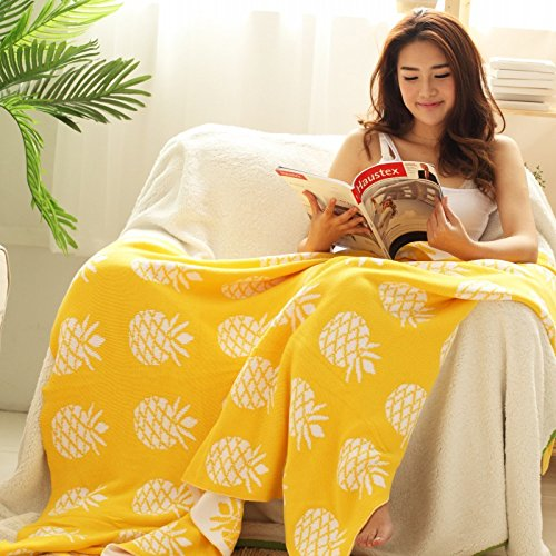 Yellow Pineapple Knitted Blanket