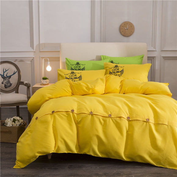 Yellow Solid Duvet Cover Set Multiple Sizes
