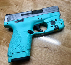 All Black M&P 9 coated to Audrey Blue and Silver