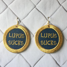 Gold Rim Denim Lupus Sucks Earrings