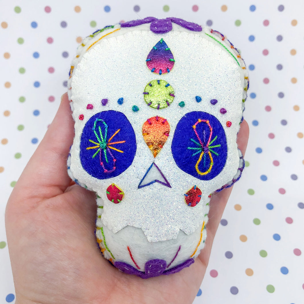 Collectable XL Pocket Hug - Hangable Sugar Skull - Essential Oil Diffuser Plushie