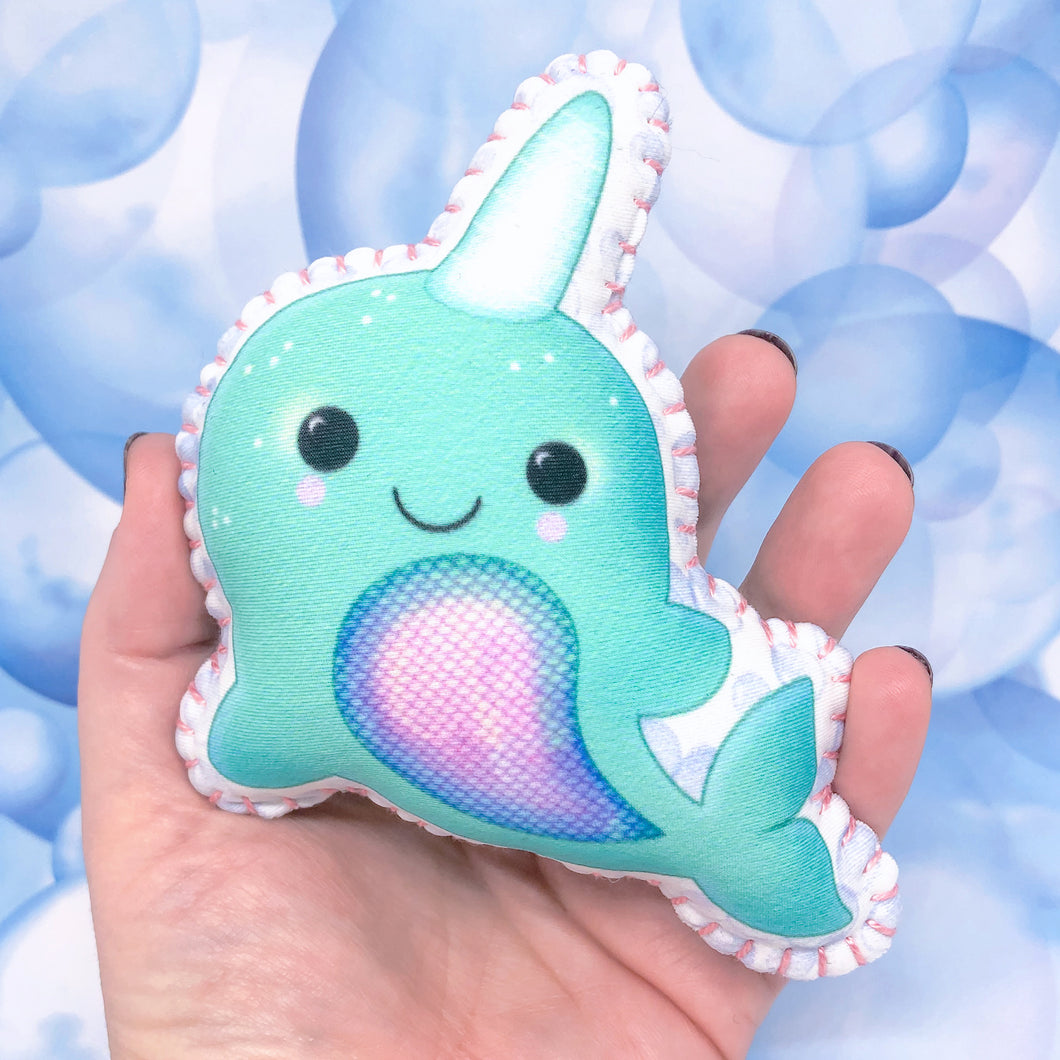 Bubbles the Narwhal - Printed Pocket Hug Essential Oil Diffuser
