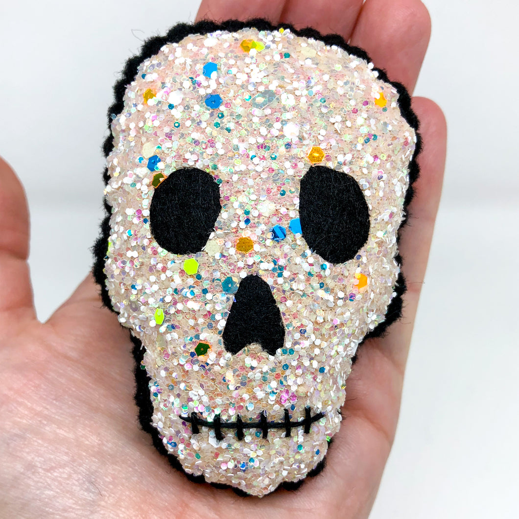 LIMITED EDITION Pocket Hug - Glow in the Dark Glitter Skull Essential Oil Diffuser Plushie