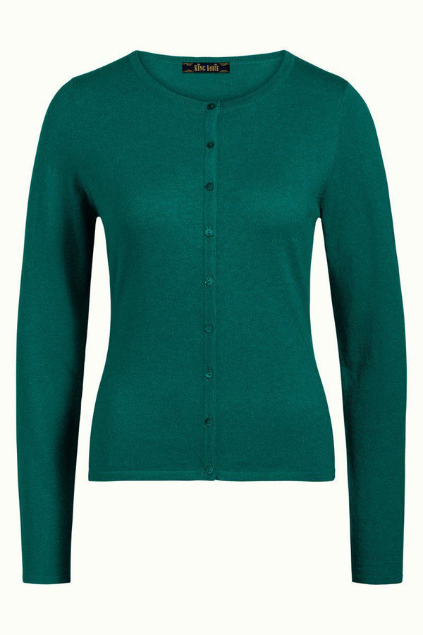 King Louie Cardigan Roundneck Cocoon - Green-King Louie-Sophies.dk