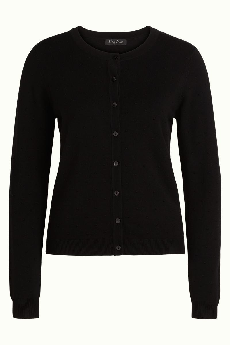 King Louie Cardigan Roundneck Droplet - Black-King Louie-Sophies.dk