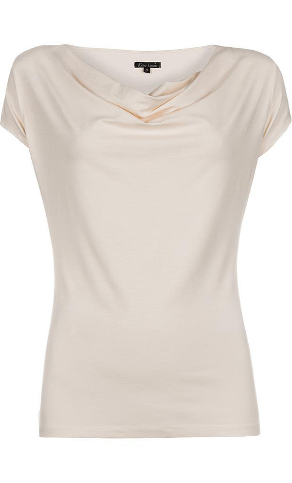 King Louie Waterfall Top Viscose Lycra - Cream-King Louie-Sophies.dk