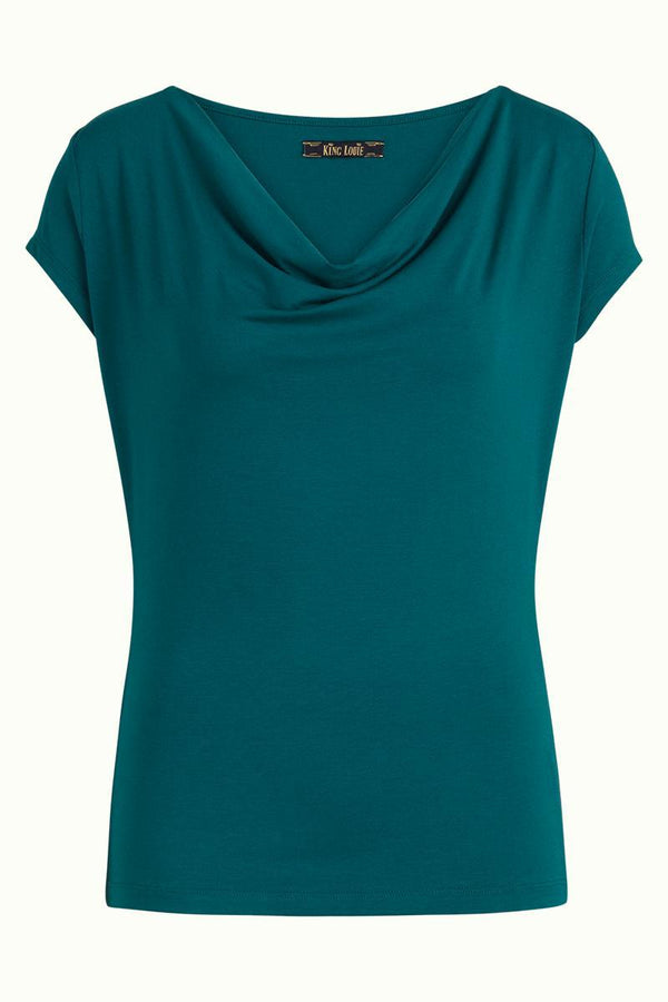 King Louie Waterfall Top Viscose Lycra - Storm Blue-King Louie-Sophies.dk
