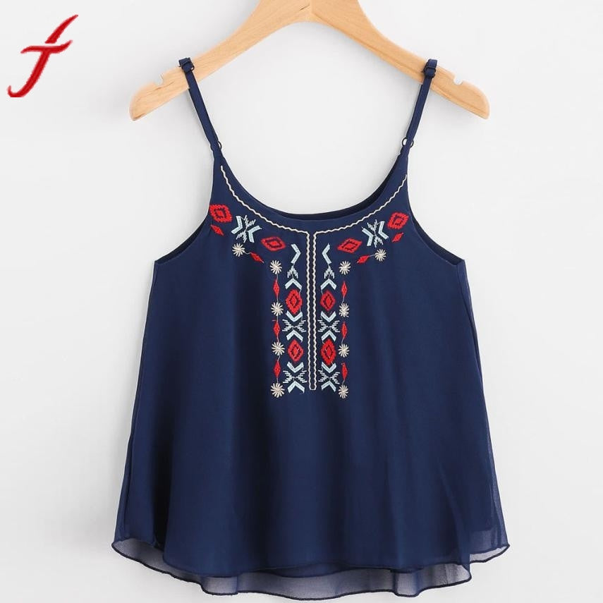 3b5a7117fbd Chiffon Women sexy O neck Floral Embroidery Crop Top Camis Blouse Spaghetti  Strap Shirts Ladies Summer