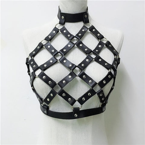 Leather and Chain Rave Festival Tops (multiple variants) - MyLittleRave.com