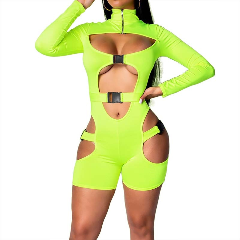 Sexy Cut Out Jumpsuit (black&green&orange) - MyLittleRave.com