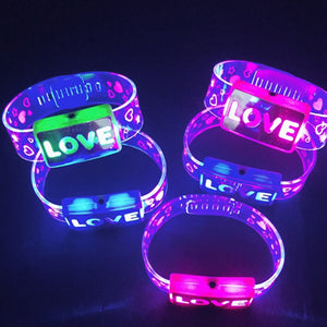 12 pcs give it away at the raves! | LOVE HAPPY Bracelets LED #CreativeProps - MyLittleRave.com