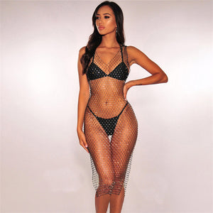 Shiny Rhinestones Mesh Dress - MyLittleRave.com