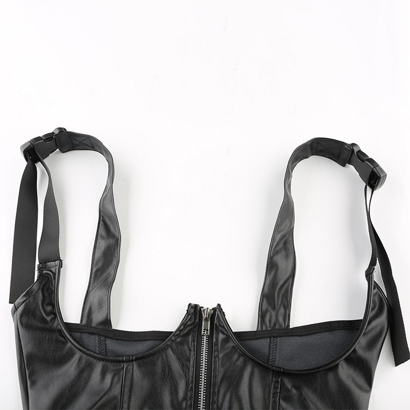 Leather Zipper Crop Top - MyLittleRave.com