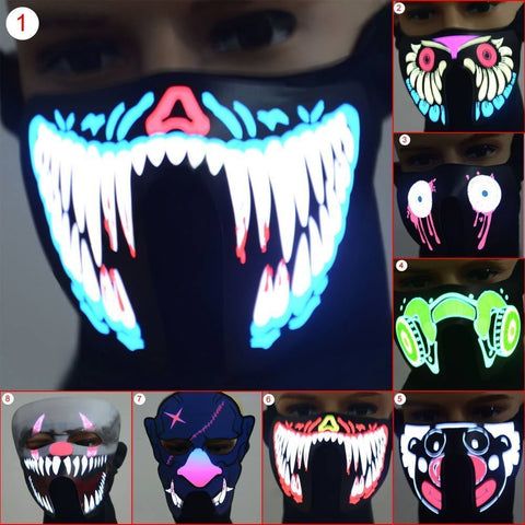 LED Luminous Face Mask #CreativeProps - MyLittleRave.com