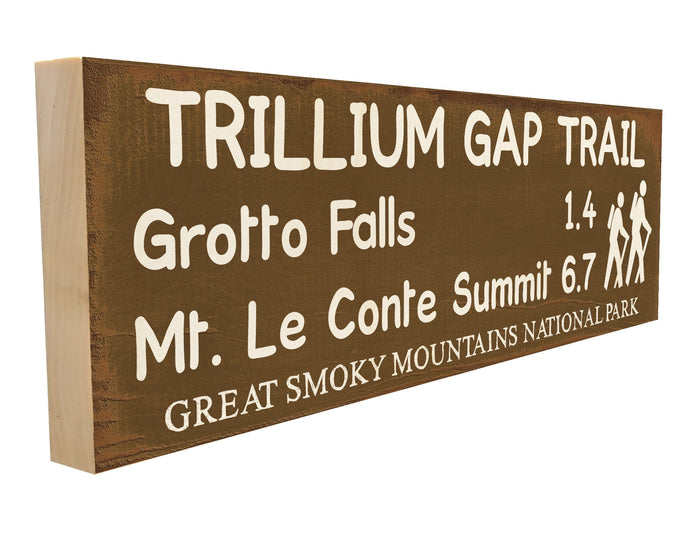 Trillium Gap Trail. Grotto Falls 1.4 Mt. LeConte Summit 6.7 Great Smoky Mountains National Park.