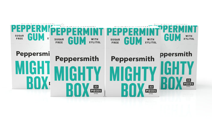 English Peppermint Xylitol Gum: 50g Mighty Box (Min order 4)