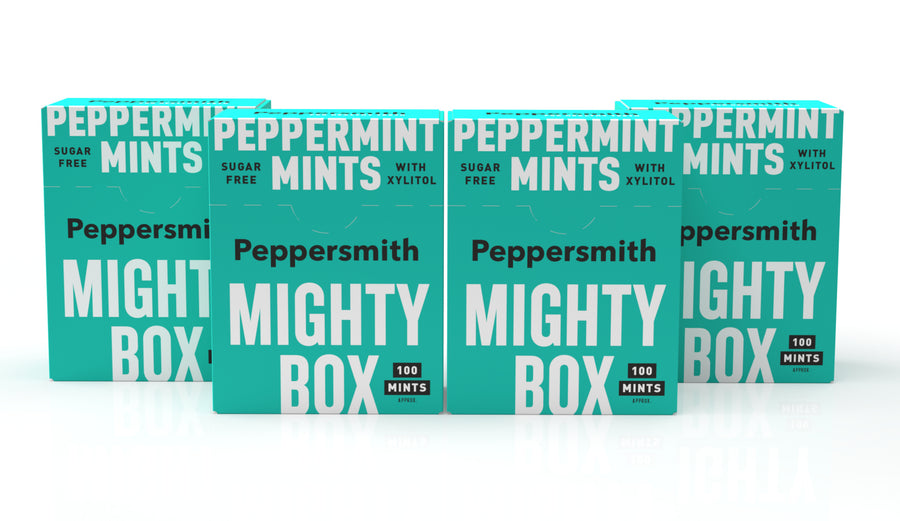 English Peppermint Xylitol Mints: 60g Mighty Box (Min order 4)
