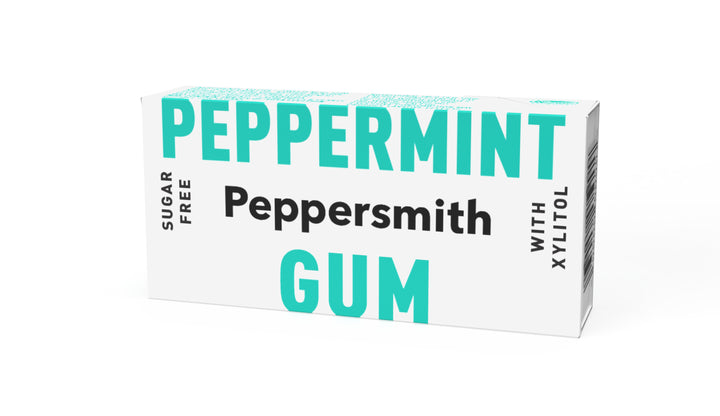 English Peppermint Xylitol Gum - 12 x 15g Pocket Packs
