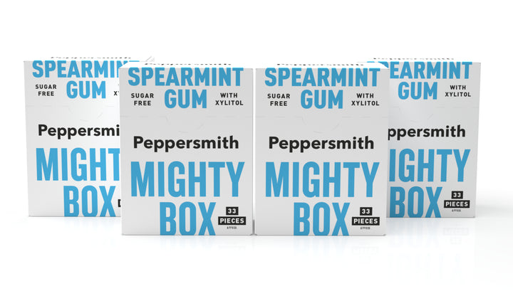 English Spearmint Xylitol Gum: 50g Mighty Box (Min order 4)