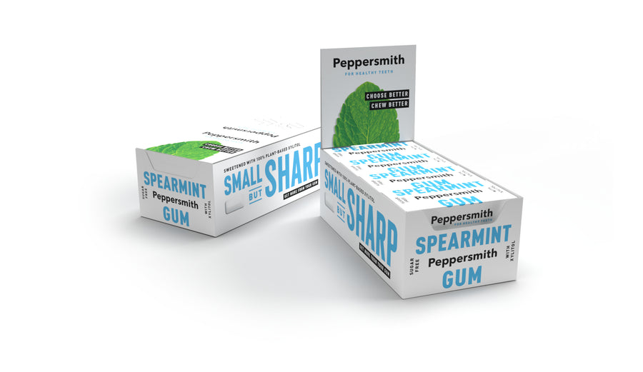 English Spearmint Xylitol Gum: 12 x 15g Pocket Packs