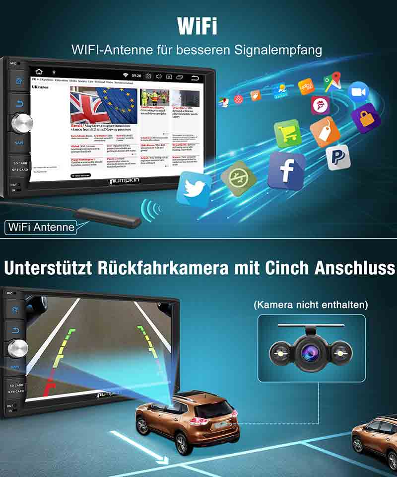 Pumpkin Universal Android Auto Video Player Doppel Din 7 Zoll Touchscreen Octa-Core Autoradio mit GPS Navi Bluetooth RAM: 2GB + ROM: 32GB