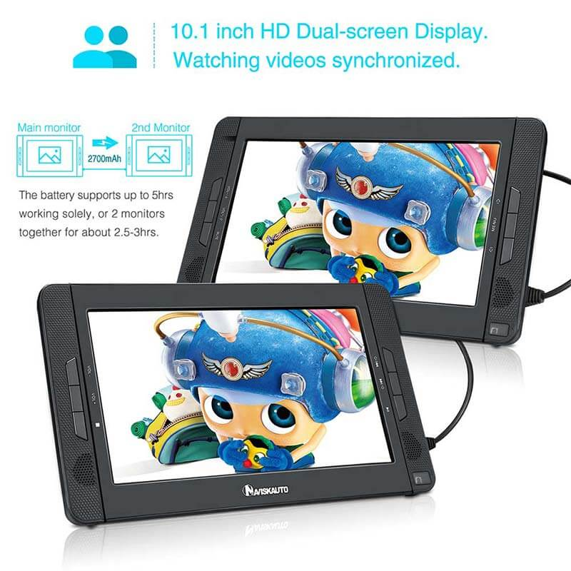 Dual-DVD-Player 10,1-Zoll-TFT-HD-Display Eingebauter Akku für Kinder