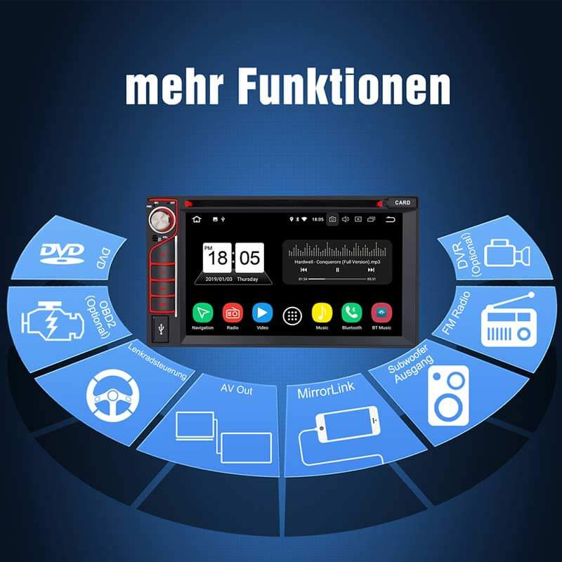 "6,2 ""Octa-Core-Autoradio-Player Android 8.0 Unterstützung für Satellitennavigation GPS Navigation Subwoofer Audio Mirror Link Schnellstart Bluetooth Wiedergabe WIFI (RAM 4 GB + ROM 32 GB)"