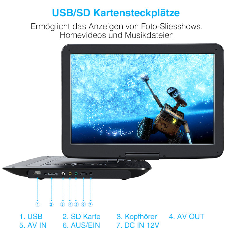 tragbarer dvd player kinder auto