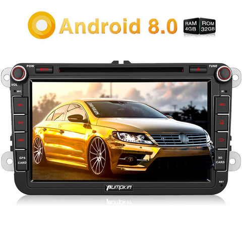 Pumpkin Car Radio Android 8.0 Double Din 8 Inch Touchscreen Octa Core Car DVD Player for VW Skoda Seat series with Bluetooth GPS Navigation RAM: 4GB + ROM: 32GB